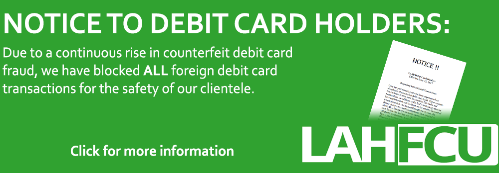 Due to a rise in counterfeit debit car fraud, we have blocked ALL foreign debit card transactions.